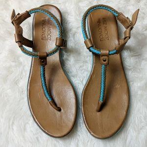 Miz Mooz Nuovo Brown Turquoise Braided Sandal 42